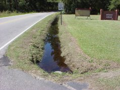 Water-filled drainage ditch