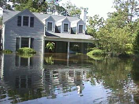 Flooding around a home.