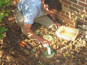 Inserting a tube of termite bait into a bait station.