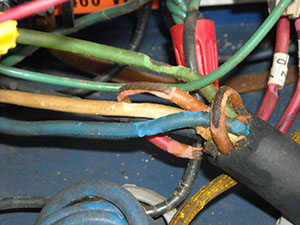 Fire ant damage to the insulation on the wiring of an electrical motor