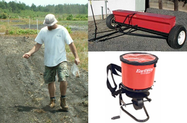Three examples of seeding: by hand, backpack seeder and pull behind seeder